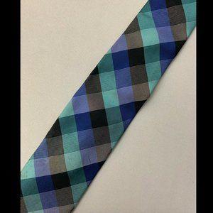 Ben Sherman Men's Blue Plaid Tie 100% Silk
